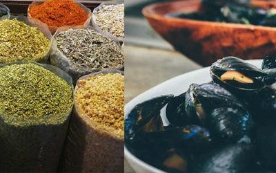 Timbale de moules marinières à l'écume de curry
